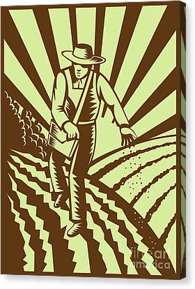 Farmer Sowing Seeds  Canvas Print by Aloysius Patrimonio