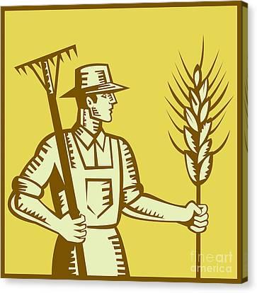 Farmer With Rake And Wheat Woodcut Canvas Print by Aloysius Patrimonio
