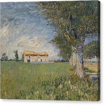 Farmhouse In A Wheat Field Canvas Print by Vincent van Gogh