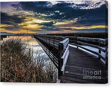 Farmington Bay Sunset - Great Salt Lake Canvas Print by Gary Whitton