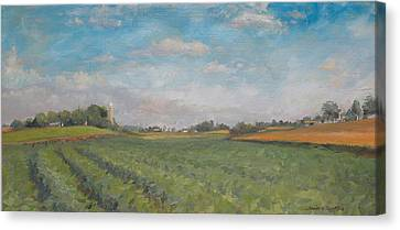 Farms And Fields Canvas Print by Sandra Quintus