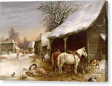 Farmyard In Winter  Canvas Print by Henry Woollett