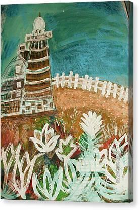 Faro Un Poquito Torcida Con Valla Canvas Print by Anne-Elizabeth Whiteway