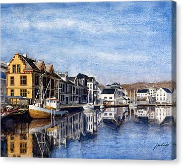 Farsund Dock Scene 2 Canvas Print by Janet King