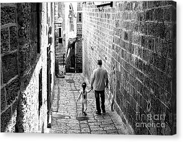 Father And Daughter In Jaffa Canvas Print by John Rizzuto