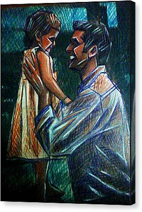 Father And Daughter Canvas Print by Paulo Zerbato