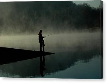 Father And Son Fishing Canvas Print by Shawn Wood