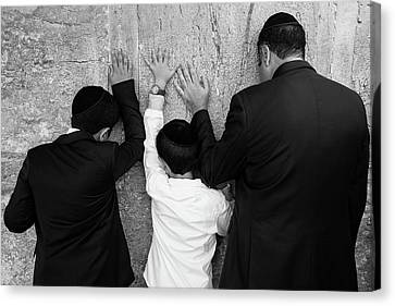 Father And Son Pray To God Canvas Print by Yoel Koskas