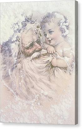 Father Christmas And A Child Canvas Print by English School
