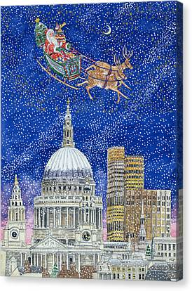 Father Christmas Flying Over London Canvas Print by Catherine Bradbury