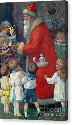 Father Christmas With Children Canvas Print by Karl Roger