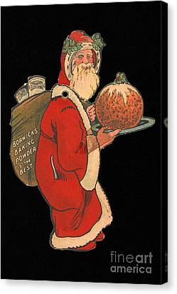 Father Christmas With Pudding, 1900s Canvas Print by Wellcome Images