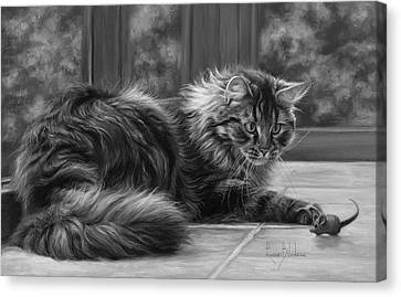 Favorite Toy - Black And White Canvas Print by Lucie Bilodeau
