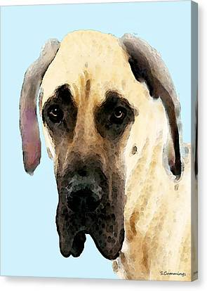 Fawn Great Dane Dog Art Painting Canvas Print by Sharon Cummings