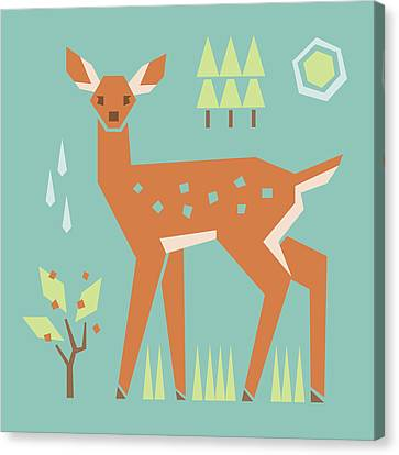 Fawn In The Meadow Canvas Print by Mitch Frey