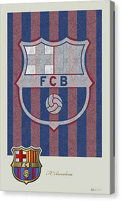 Fc Barcelona Logo And 3d Badge Canvas Print by Serge Averbukh