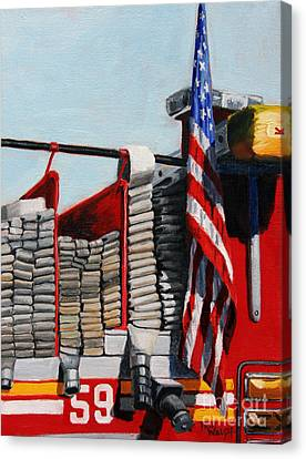 Fdny Engine 59 American Flag Canvas Print by Paul Walsh