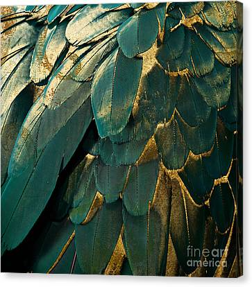 Feather Glitter Teal And Gold Canvas Print by Mindy Sommers