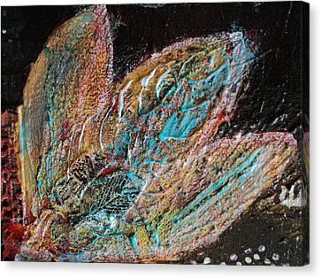 Feathery Leaves In Fantasy Blues Canvas Print by Anne-Elizabeth Whiteway