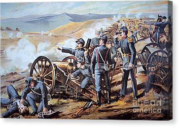 Federal Field Artillery In Action During The American Civil War  Canvas Print by American School
