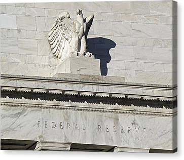 Federal Reserve Eagle Detail Washington Dc Canvas Print by Brendan Reals