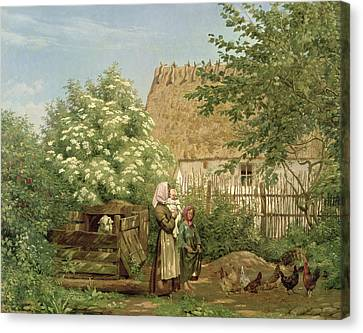 Feeding The Chickens Canvas Print by Frederick Christian Lund