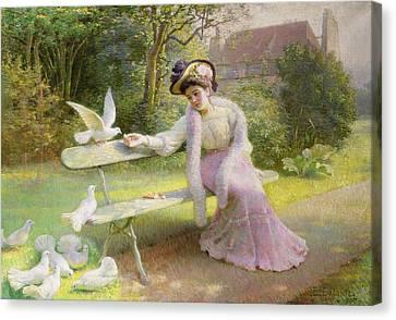 Feeding The Doves  Canvas Print by Edmond Alphonse Defonte