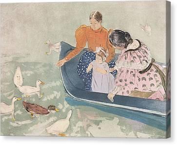Feeding The Ducks Canvas Print by Mary Stevenson Cassatt