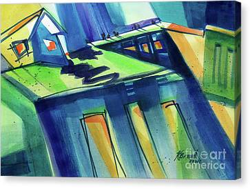 Feedmill In Blue And Green Canvas Print by Kathy Braud