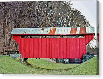 Feedwire Road Covered Bridge Canvas Print by Jack R Perry