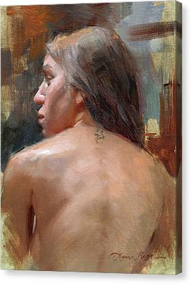 Female Back Study Canvas Print by Anna Rose Bain