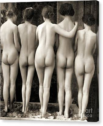 Female Nude Quintet Canvas Print by French School