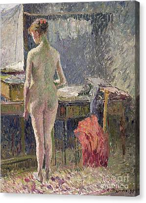 Female Nude Seen From The Back Canvas Print by Camille Pissarro