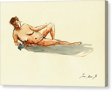 Female Nude Watercolor Canvas Print by Juan  Bosco