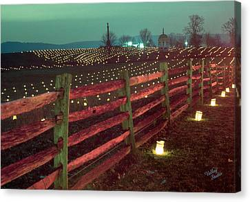 Fence And Luminaries 11 Canvas Print by Judi Quelland