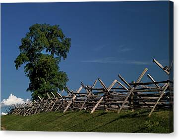 Fenceline At Bloody Lane Canvas Print by Judi Quelland