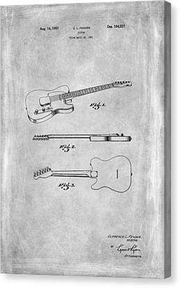 Fender Guitar Patent From 1951 Canvas Print by Mark Rogan