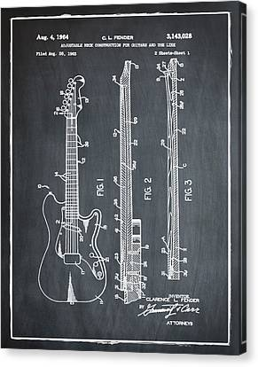 Fender Stratocaster Patent 1964 Chalk Canvas Print by Bill Cannon