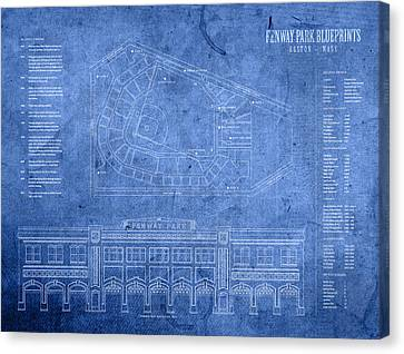 Fenway Park Blueprints Home Of Baseball Team Boston Red Sox On Worn Parchment Canvas Print by Design Turnpike