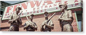 Fenway Park Bronze Statues Panorama Photo Canvas Print by Paul Velgos