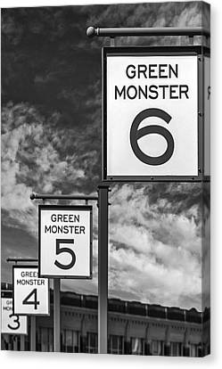 Fenway Park Green Monster Section Signs Bw Canvas Print by Susan Candelario
