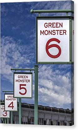 Fenway Park Green Monster Section Signs Canvas Print by Susan Candelario
