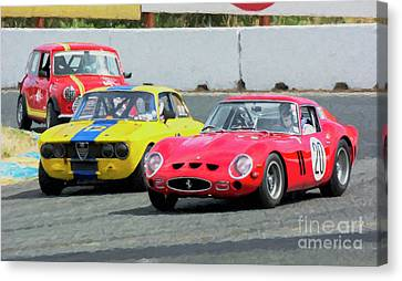 Ferrari 250 Gto And Alfa Gtv And Austin Mini At Sonoma Canvas Print by Tad Gage