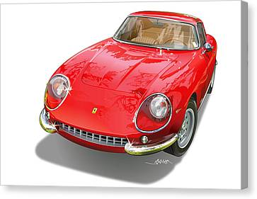 Ferrari 275 Gtb Illustration Canvas Print by Alain Jamar