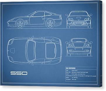 Ferrari 550 Blueprint Canvas Print by Mark Rogan