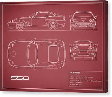 Ferrari 550 Blueprint - Red Canvas Print by Mark Rogan