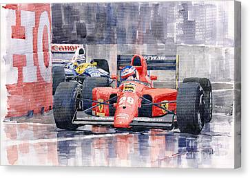 Ferrari F1 Jean Alesi Phoenix Us Gp Arizona 1991 Canvas Print by Yuriy  Shevchuk