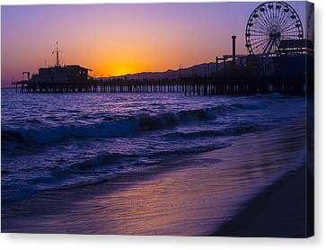Ferris Wheel On Pier Canvas Print by Garry Gay