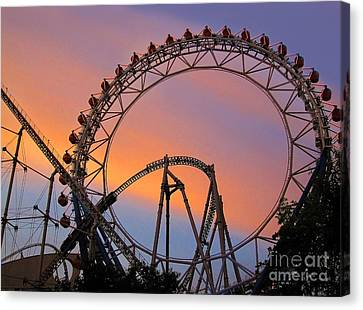 Ferris Wheel Sunset Canvas Print by Eena Bo