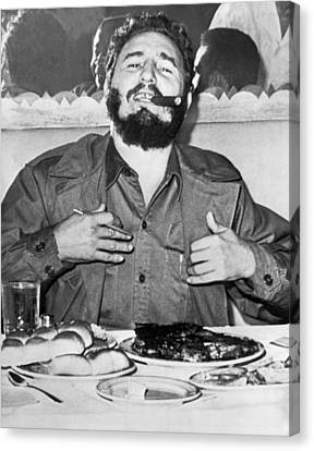Fidel Castro In New York Canvas Print by Underwood Archives